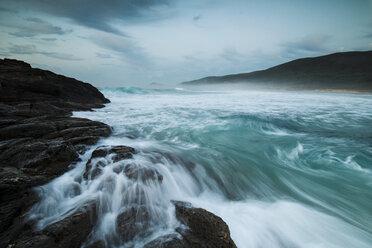 Spain, Galicia, Ponzos beach in Ferrol - RAEF01505