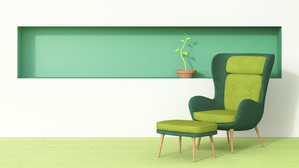 Retro style arm chair and stool with plant growing in green shelf - AHUF00267