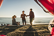Three friends camping at seaside - UUF08790