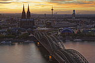 Germany, Cologne, view to the city from above at evening twilight - GFF00818