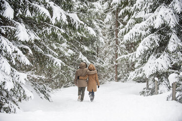 Happy couple walking in winter forest - HHF05444