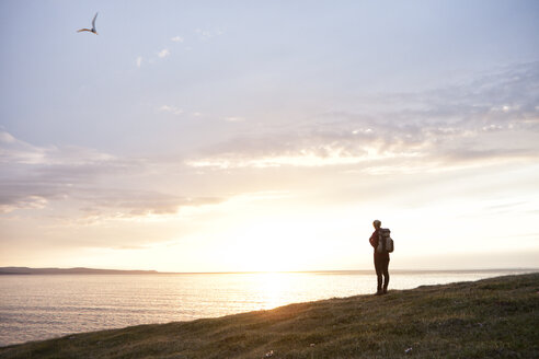 Iceland, back view of hiker looking at view by twilight - RBF05215