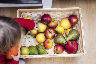 Little girl taking apple, top view - EVGF03096