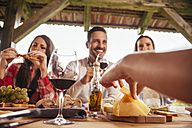 Friends socializing at outdoor table with red wine and cold snack - ZEDF00404