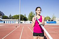 Female pole vaulter preparing - ABZF01386