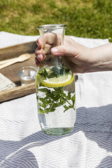 Hand holding carafe with flavored mint water over picnic blanket - EVGF03115