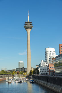 Germany, Dusseldorf, Gehry Buildings and television tower at Media Harbour - FRF00475