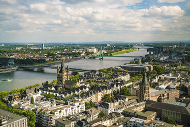 Germany, Cologne, view to cityscape with Gross Sankt Martin and city hall from above - TAMF00722