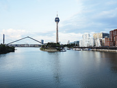 Germany, Duesseldorf, view to Rhine Tower and New Zollhof with Media Harbour in the foreground - KRPF01900