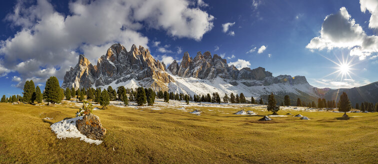 Italy, South Tyrol, Geisler group at sunset - YRF00128