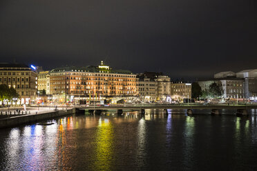 Sweden, Stockholm, view to the city by night - ABZF01448
