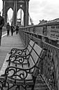 USA, New York City, bench on Brooklyn Bridge - ZEF11100