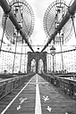 USA, New York City, Brooklyn Bridge with markings for pedestrians and cyclists - ZEF11103