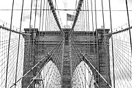 USA, New York City, part of Brooklyn Bridge with American Flag - ZEF11118