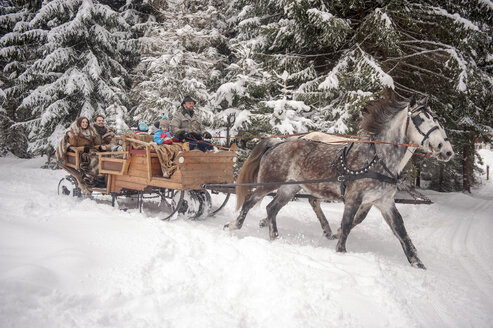 Family enjoying a ride in a horse-drawn sleigh in winter - HHF05460