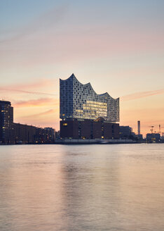 Germany, Hamburg, view to Elbe Philharmonic Hall at sunrise - WHF00055