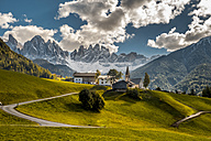 Italy, South Tyrol, Vilnoess Valley, view to church of St. Magdalena with Geisler group in the background - HAMF00234