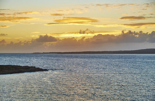 Italy, Sardinia, Sant'Antioco, Calasetta, sea at sunset - MRF01672