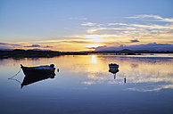 Italy, Sardinia, Murta Maria, boats on the water at sunset - MRF01675