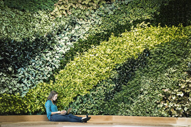 Young woman using laptop in front of green plant wall - WESTF21902