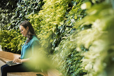 Young woman using laptop in front of green plant wall - WESTF21905