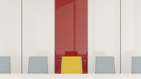 Conference room with one chair standing out from the crowd, 3d rendering - UWF01056