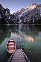 Italy, South Tyrol, Pragser Wildsee, boat at jetty - HAMF00238