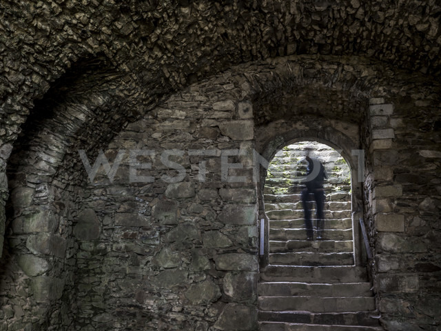 Shadow of a man on stairs of a castle vault - EJW00802