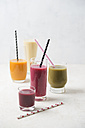 Five glasses of different smoothies - MYF01826