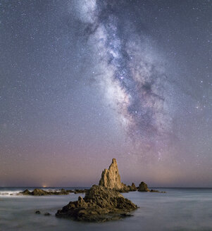 Spain, Almeria, milky way over Arrecife de Las Sirenas - EPF00177