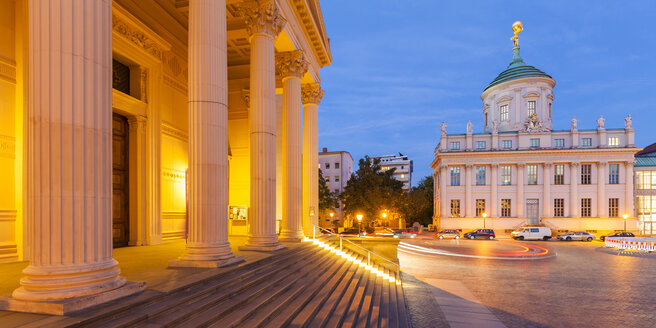 Germany, Potsdam, lighted St. Nicholas church and old city hall at old market in the evening - WDF03772