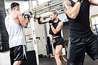 Female boxer sparring with coach - MADF01235