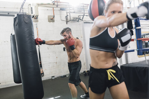 Two boxers exercising in boxing club - MADF01271