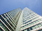 Germany, Frankfurt, office tower seen from below - KRPF02012