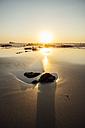 Portugal, Alentejo, Sunset at Zambujeira do Mar beach - CHPF00339