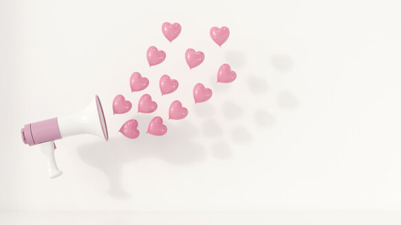 Megaphone with pink heart-shaped balloons as sound waves, 3d rendering - UWF01069