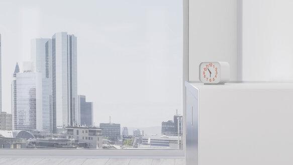 Alarm clock on sideboard in front of urban skyline, 3d rendering - UWF01072