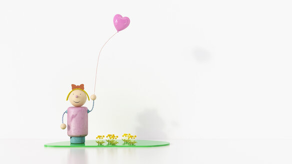 Girl figurine holding balloon, 3d rendering - UWF01075