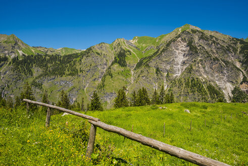 Germany, Bavaria, Allgaeu, Allgaeu Alps, View to Laufbacher Eck Path and Schochen mountain - WGF00999