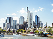 Germany, Frankfurt, view to skyline of skyscrapers with old town and Main River in the foreground - KRPF02032