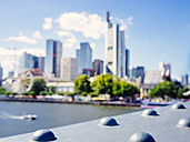 Germany, Frankfurt, blurred view to skyline from Eiserner Steg - KRPF02035