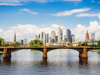 Germany, Frankfurt, view to skyline  with Ignatz-Bubis-Bridge and Main River in the foreground - KRPF02044