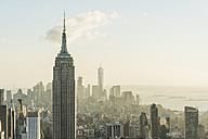 USA, New York City, cityscape with Empire State Building as seen from Rockefeller Center observation deck - UUF09381