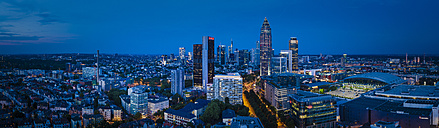 Germany, Frankfurt, view to the city in the evening from above - MPA00102