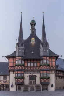 Germany, Wernigerode, town hall and market square in the morning - PVCF00950