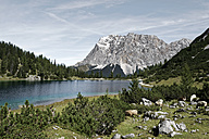 Austria, Tyrol, Ehrwald, Seebensee with Zugspitze in the background - LHF00512