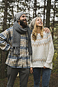 Happy young couple outdoors in autumn - KKAF00087