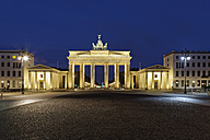 Germany, Berlin, view to lighted Brandenburg Gate by night - GFF00890