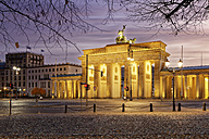 Germany, Berlin, view to lighted Brandenburg Gate - GFF00893