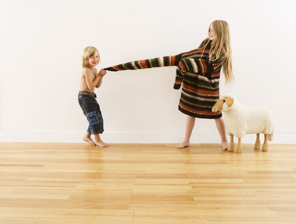 Brother and sister playing together - FSF00644